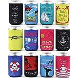 Blue Panda Paquete de 12 fundas de neopreno aisladas para cerveza y refrescos con temática náutica, se adapta a latas de 12 onzas
