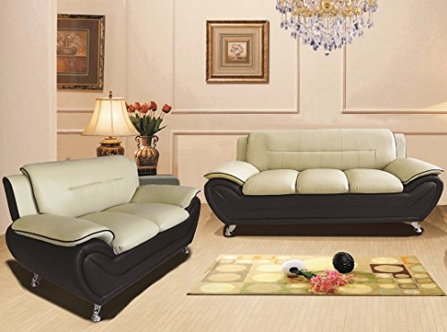 Container Furniture Direct Michael Sofa and Loveseat, Camel/Black