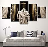 QZROOM Impresiones en Lienzo Arte de la Pared Cristiano Jesucristo Madre Religión Estatua de Sebastiano 5 Piezas Impresión HD Imágenes de decoración del hogar-40x60 40x80x2 40x100cm-Sin Marco
