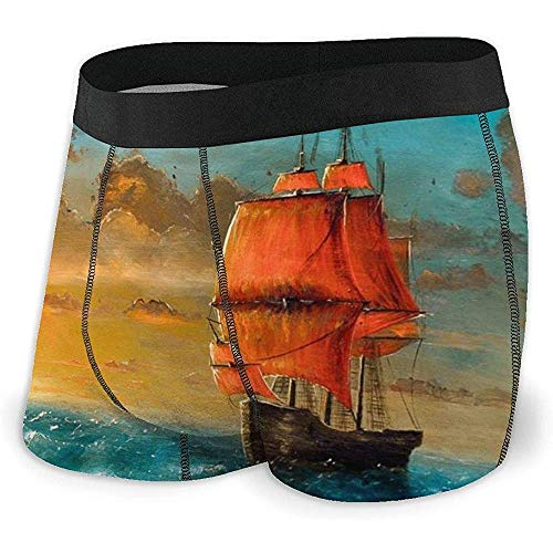 Web--ster Barco mar Pintura Calzoncillos Boxer para Hombre Ropa Interior Suave Calzoncillos gráficos Novedad