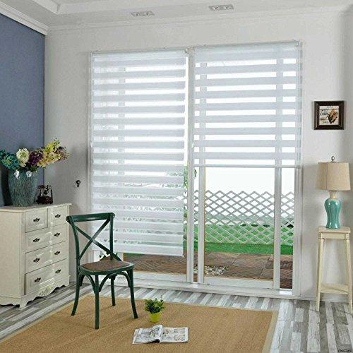 KLEMMFIX Tag & Nacht Duo Rollo Easyfix Variorollo Mini Ohne Bohren, Doppelrollo für Fenster & Türen, Moderner Sichtschutz, Seitenzugrollo & Jalousie Weiß HxB 220x80 cm