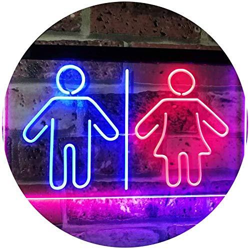 ADV PRO Toilet Man Woman Male Female Washroom WC Restroom Dual Color LED Barlicht Neonlicht Lichtwerbung Neon Sign Blau & Rot 300 x 210mm st6s32-i3047-br