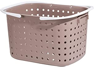 Laundry Basket Home Use Plastic Round Hole Breathable Storage Baskets High Capacity With Handles, 2 Colors, 2 Sizes (Color...