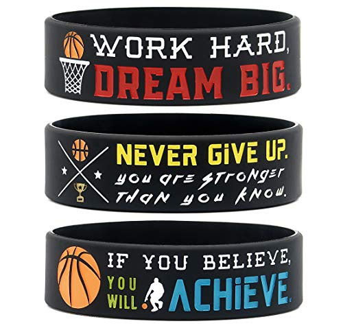 (6-Pack) Motivational Basketball Wristbands - Basketball Gifts Jewelry Accessories for Basketball Players Team Awards Party Favors - Unisex for Men Women Youth Teen Girls Boys