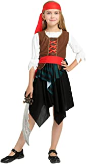 Girls Pirate Princess Costume Halloween Fancy Dress Outfit for Kids Children Role Play Cosplay Seas Buccaneer Dress Up
