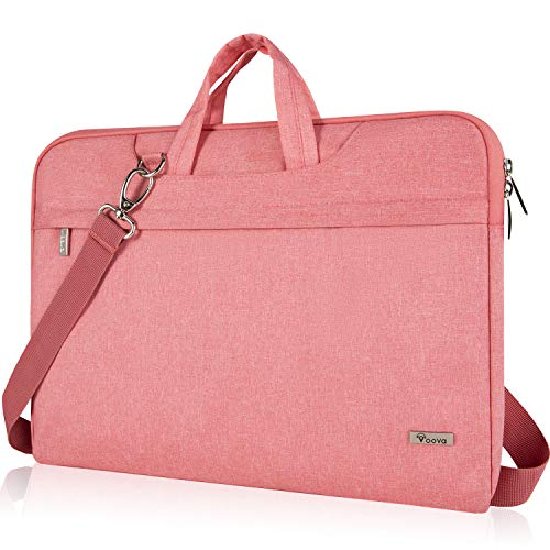 Voova Laptop Bag 17 17.3 inch, Waterproof Laptop Case Sleeve with Shoulder Straps, Computer Briefcase Cover Compatible with MacBook/Acer/Asus/Dell for women ladies& girls -Pink