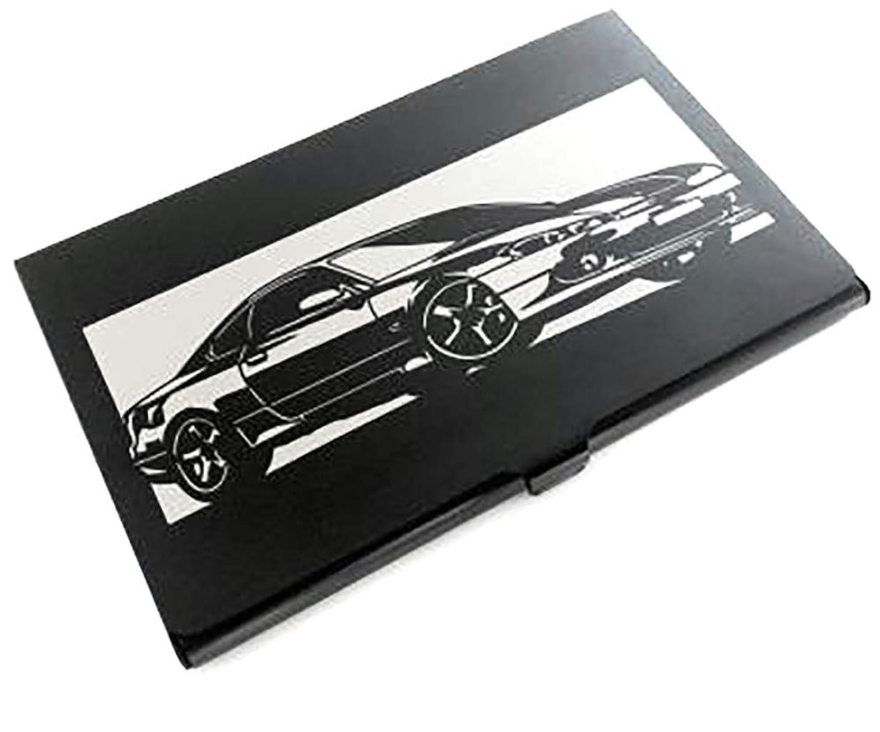 取り替える団結するキャストブラックアルマイト「日産(NISSAN) シルビア SILVIA S15」切り絵デザインのカードケース