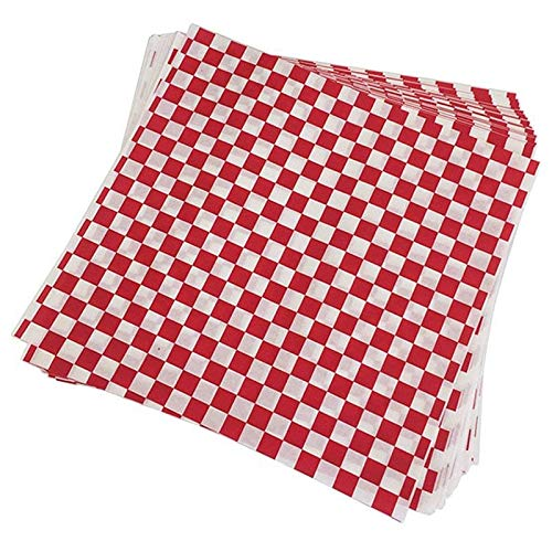 Bopfimer 100 PCS Checkered Feinkostgeschaeftkorbzwischenlage-Lebensmittelverpackungs-Papiere, Fettabwehrmittel, Sandwich-Burger-Verpackung, Rot und Weiss