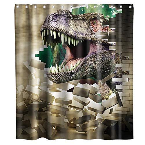 N\A Jurassic Park Duschvorhang Dinosaurier bricht durch die Wand Stoff Stoff Kinder Badezimmer Dekor Set mit Haken wasserdicht waschbar