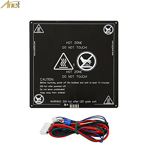 Anet Aluminum MK2 MK3 12V Heated Bed Hotbed Upgrade with Hotbed Wire Cable Line for for Anet A8 A6 3D Printer, Black 220x220mm