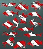 ISC Aufkleber Autoaufkleber Sticker Taucheraufkleber Taucherflagge Kontur (Hai)