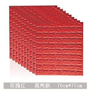 CptBtptPQz Papel pintado autoadhesivo de ladrillo 3d de 10 piezas, adhesivos de pared suaves de espuma anticolisión a prueba de agua, rosa rojo, 70 cm * 77 cm