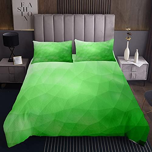 Colcha geométrica acolchada con patrón de polígono geométrico, para niños y niñas, color verde degradado, 2 unidades