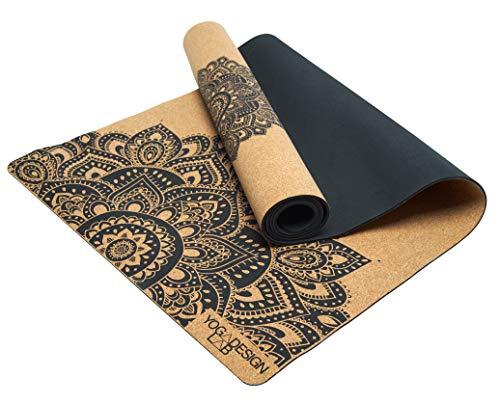 Yoga Design Lab   Die Kork Yogamatte   Umweltfreundlicher Ideal für Hot Yoga, Power, Bikram, Ashtanga, Schweißtreibende Workouts   Studioqualität   Inklusive Tragegurt! (Mandala)