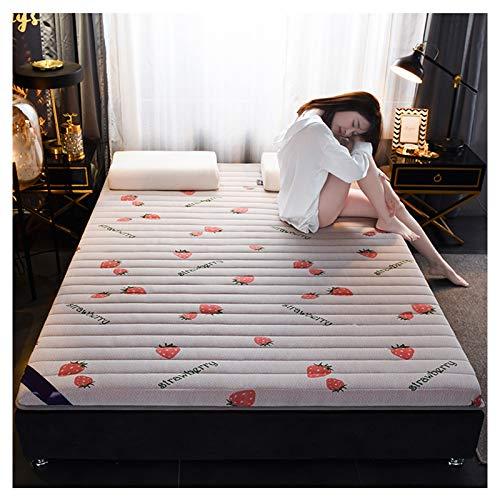 YRRA Doble Memoria Espuma Colchón, Comodidad Tamaño Gigante Colchones con Muy elástico Capa de Espuma, (Invierno Verano),Strawberry,90 * 200 * 10cm