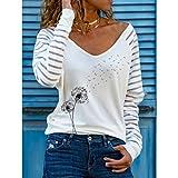 PKYGXZ Camiseta con Estampado de Gato con Cuello en V para Mujer, Jersey Informal, Camisas Deportivas Sueltas,...