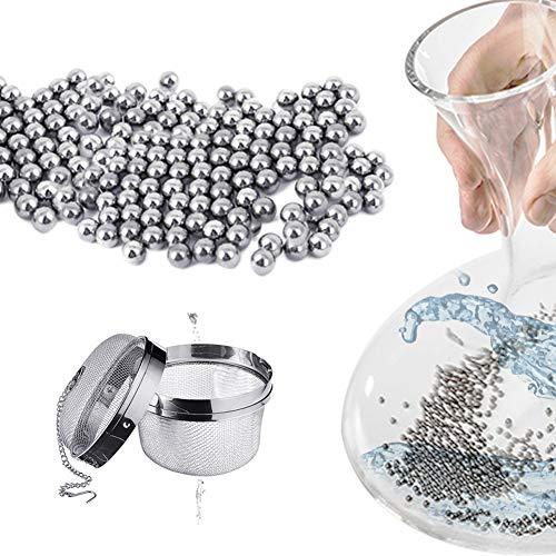 SkingHong Edelstahl Reinigungsperlen Kugeln 1200 Stück mit Sieb Satz, Multifunktions Reinigungswerkzeuge für Dekanter,Vase, Wein Glaskaraffe, Flaschen Reinigungsbürste