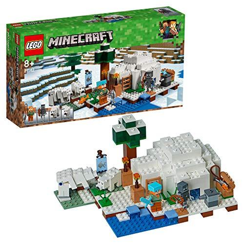 LEGO Minecraft - El Iglú Polar, Juguete de Construcción Creativo del Videojuego de Aventuras de Niños y Niñas de más de 8 Años, Incluye Muñecos (21142)