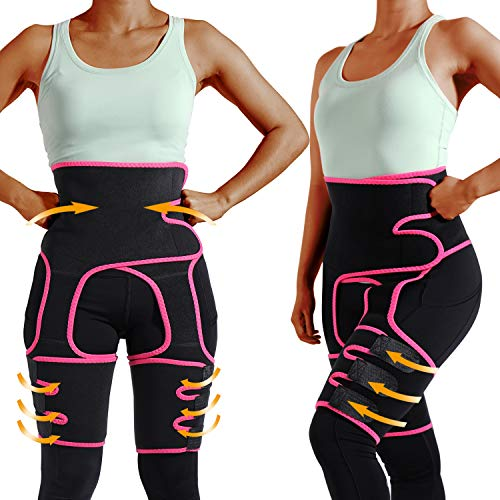 labato Waist Trainer for Women Thighs Trimmer Butt Lifter Neoprene Sweat Belt Fitness Body Shapewear (Fuchsia, L/XL)