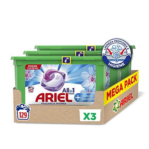 Ariel Pods Allin1 Detergente Lavadora Cápsulas, 129 Lavados (3 x 43), Efecto Suavizante