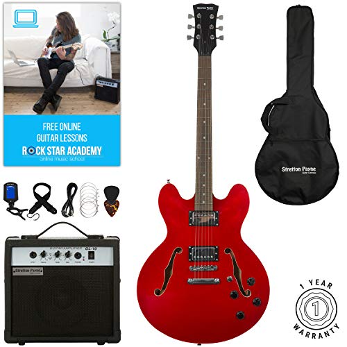 Stretton Payne 335 Hollow Body Semi Acoustic Electric Guitar with practice...