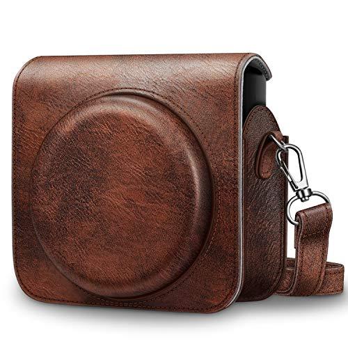 Fintie Tasche für Fujifilm Instax SQ 6 EX D Sofortbildkamera - Premium Kunstleder Schutzhülle Reise Kameratasche Hülle Abdeckung mit abnehmbaren Riemen, Braun