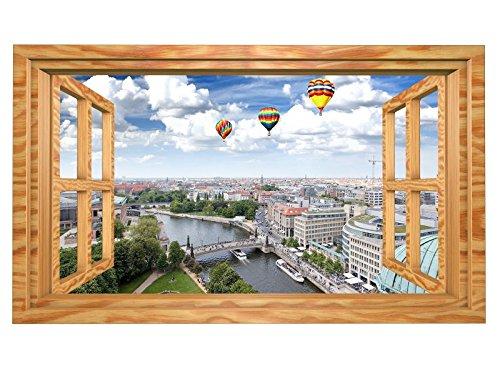 3D Wandmotiv Berlin Luftballons Fenster Skyline Wandbild selbstklebend Wandtattoo Wohnzimmer Wand Aufkleber 11E428, Wandbild Größe E:ca. 168cmx98cm
