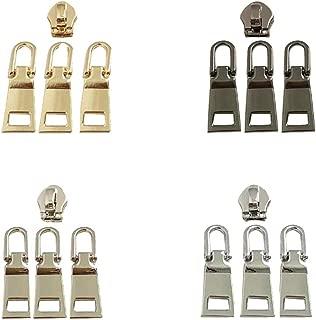 16pcs Metal Zipper Pulls Zipper Repair Parts Fixer Replacement for Jacket,Coat,Luggage,Backpack,Handbag,Bag (#3,4 Color)