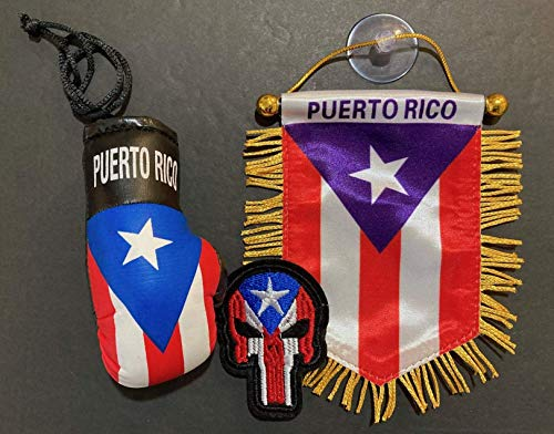 Puerto Rico Flags for Cars Accessories Boxing Gloves Puerto Rican PR Homes Quality Made Banderas para Autos Small Mini Banner Hanging Window car Flags Accessory for Men Women (PR Combo 8)