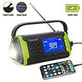 Emergency-Radio with NOAA Weather Alert, 4000mah Hand Crank Portable Solar Survival Radios with Aux,Electronic Display,AM/FM,SOS Alarm,Led Flashlight,Phone Charging,Battery Backup(Green)