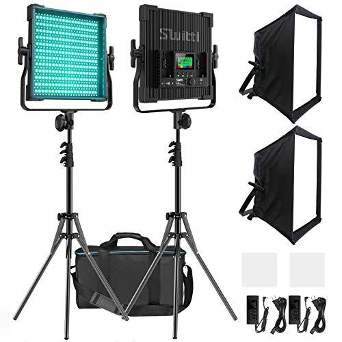 LED撮影ライト2個セット 遠隔操作調光可能 RGB二色552 12色モード 撮影 照明 Softboxセット 高輝度50W 2600K-10000K CRI96+ スタジオ撮影 屋外撮影 YouTube録画 日本語説明書