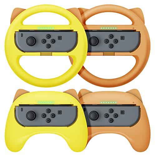 【NS Joy-Con専用クリップ&お得4点セット】 Nintendo Switch joy-con対応 ハンドル型+ゲームパッド型 マリオカート8 デラックス スイッチ レーシングゲーム ハンドル コントローラー(装着簡単、手触り良い、持ちやすい) スイッチ ジョイコン専用 マリオカート ハンドル (イエロー/ブラウン)
