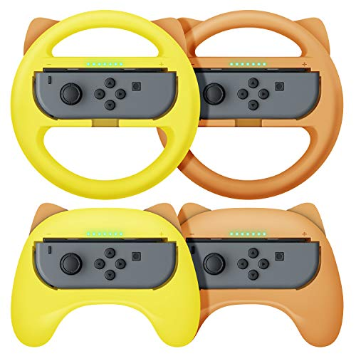 【最新NS Joy-Con専用クリップ&お得4点セット】 Nintendo Switch joy-con対応 ハンドル型+ゲームパッド型 マリオカート8 デラックス スイッチ レーシングゲーム ハンドル コントローラー(装着簡単、手触り良い、持ちやすい)
