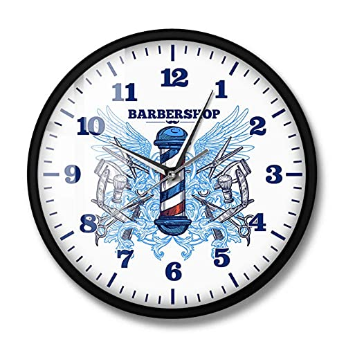 Peluquería Reloj de Pared de diseño Moderno Peluquería Cortador de Poste Reloj de Cuarzo Barrido silencioso Hipster Hombre Club Decoración Reloj de Pared Colgante-Marco de Metal