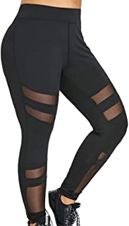 Women Pants Wintialy Women Plus Size Mid Waist Solid Mesh Patchwork Elastic Sports Pants Trousers