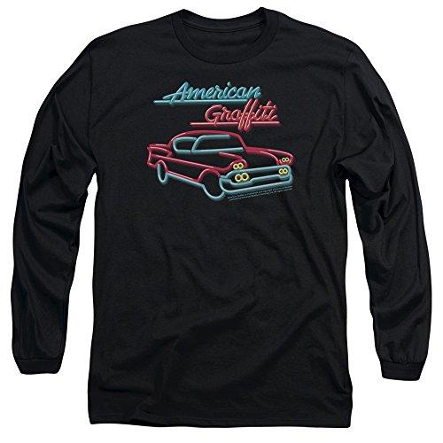 American Grafitti - Neon à manches longues pour hommes T-shirt, Large, Black