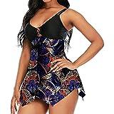 MAI Traje de baño de mujer más tamaño sexy barriga Control Strappy Floral trajes de baño Vestido+fondos 2pc Tankini Bikini Set