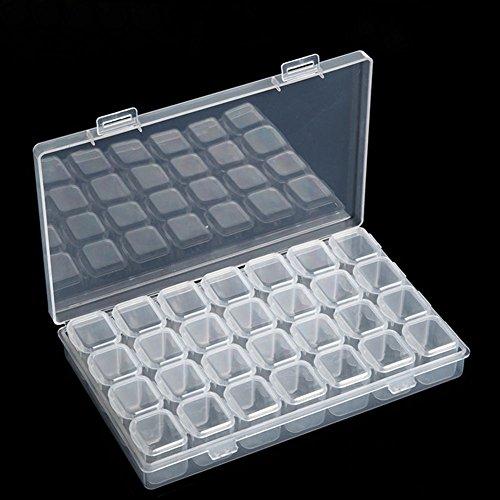 uyhghjhb Boîte de rangement en plastique transparent avec 28 emplacements pour bijoux, perles, nail art, outils
