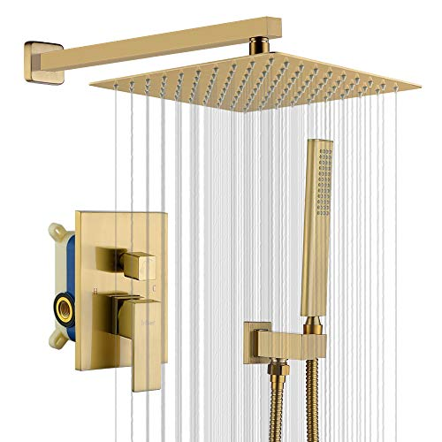 Iriber Champagne Bronze Rain Shower System with 12 Inch Shower Head and Handheld Bathroom Wall Mounted Brushed Golden Shower Set Contain Shower Faucet Mixer and Brush Gold Trim Kit (Valve Included)