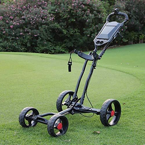 Y&XF Carro De Golf Plegable De 4 Ruedas con Empuje Y Extracción, Carro De Golf Desmontable con Un Clic, Carro De Mano Liviano con Freno De Mano, Un Segundo para Abrir Y Cerrar