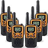 Rivins RV-7 Walkie Talkies for Adults 6 Pack 2-Way Radios 22 Channel FRS Walkie Talkies UHF Handheld Walky Talky (Black/Orange)