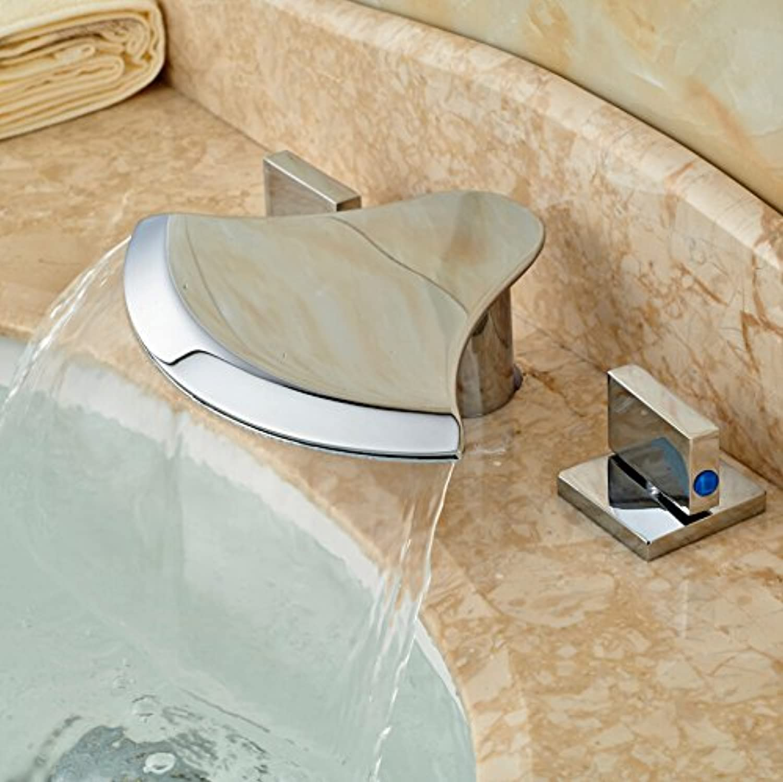 U-Enjoy Creative Waterfall Spout Top Quality Sink Faucet Chrome Finish Dual Handles Bathtub Mixer Taps 3 Holes (Free Shipping)