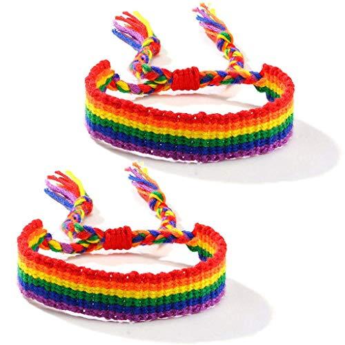 TYUXINSD Hermosa 2 unids Arco Iris Gay y Lesbiana Amor Orgullo trenido Macrame Macrame brazalet Amante Pulsera (Color : 43)