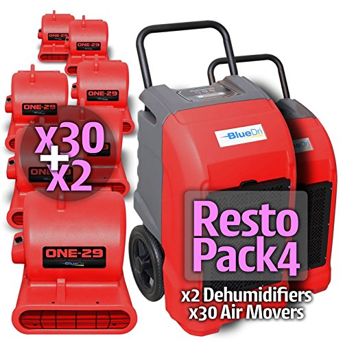 Purchase BlueDri Resto Pack 4, 30X One-29 Air Movers Carpet Dryer Blower Floor Fan & 2X BD-76 Pint I...