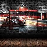 IKDBMUE Cuadro sobre Impresión Lienzo 5 Piezas-Mural Moderno 5 Piezas,R8 LMS Racing Sports Car Dormitorios Decor para El Hogar -No Tejido Lienzo Impresión-Modular Poster Mural