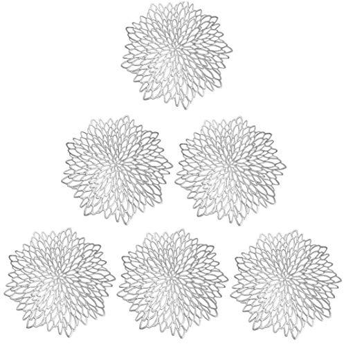 JYCTD Alfombrilla de Mesa de Hibisco Floral Hueca de PVC Alfombrilla de decoración de Mesa para el hogar Alfombrilla Antideslizante Dorada KichenDecor