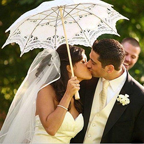 Huayang Rétro Palais Style Dentelle Blanche ombrelle décoration de Mariage pour Les Femmes