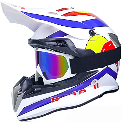 NNYY Integraler ATV-Helm, Motocross-Helm-Erwachsener Red Bull-Helm-Motorrad-Kreuz-Set-Kind mit Gläsern-Maskenhandschuhen, für BMX MTB-Quad-Enduro ATV-Roller,Weiß,S