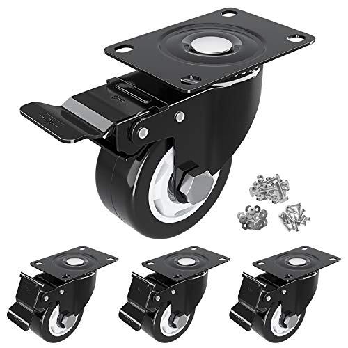 HOSOM 3 Inch Caster Wheels Heavy Duty, Dual Locking Caster Set of 4, Top Plate Casters with Brake and Rubber Wheels for Outdoor Cart, Workbench, and Furniture, Black Low Profile