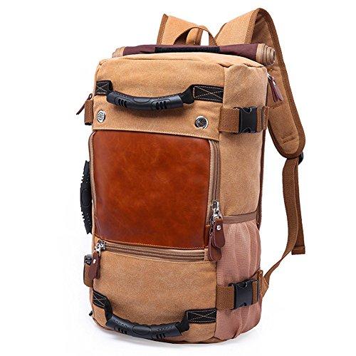 DRF Canvas Rucksack Wandern Vintage Trekkingrucksack für 17 Zoll Laptop Backpack Reise Outdoor BG238 (Khaki)